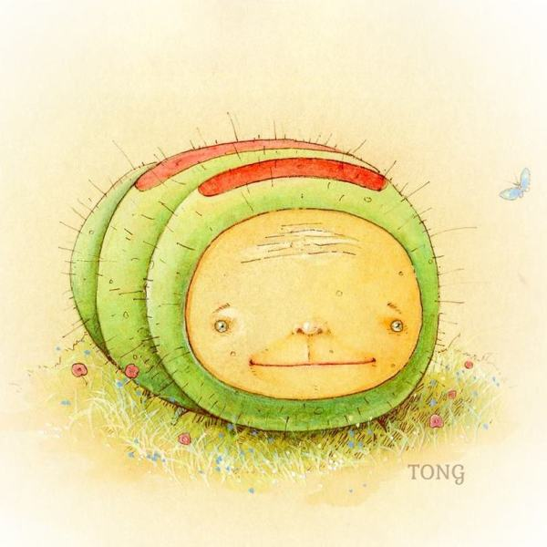 Original Artwork the Nunglepiller showing a green caterpiller with smiling face