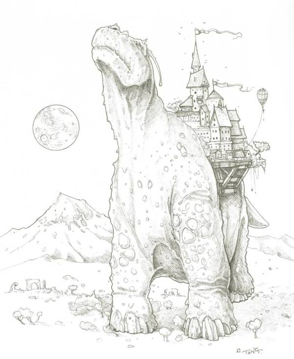 Pen and ink drawing showing a desolate landscape with a city carried by a dinosaur