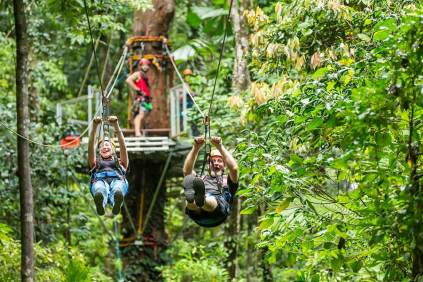 Couple racing each other on rainforest zip-line
