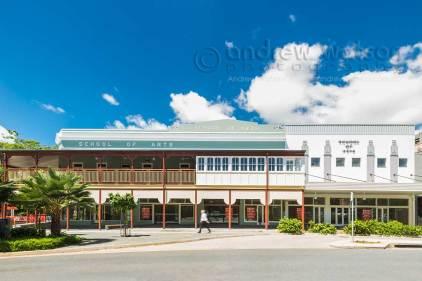 Exterior image of School of Arts building Cairns, showing heritage facades