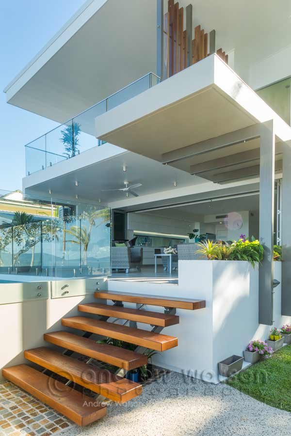 Exterior image of architectural beachfront home in Cairns