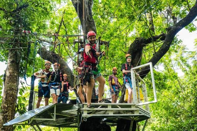 View of rainforest platform in Daintree zip-line tour