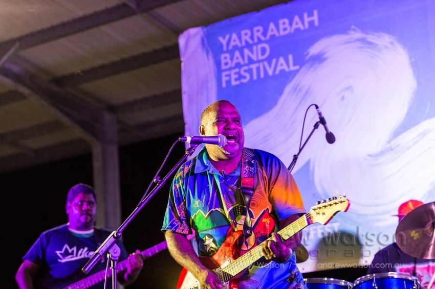 Image of performers at the Yarrabah Band Festival