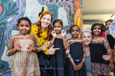 Image of the Wiggles with Yarrabah school students