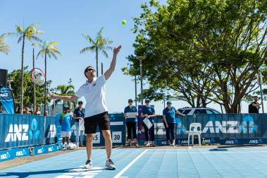 Image of business member on court at Cairns Charity Challenge