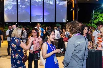 Image of delegates at welcome reception for ANZA Workshop 2017
