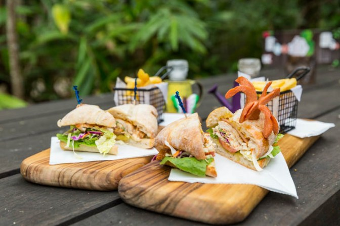 Image of burgers and fries at the Platypus Lodge Restaurant & Cafe at Eungella