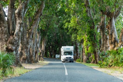 Image of motorhome driving along Mango Avenue in Eimeo