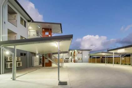 Image of parking spaces at unit housing development, Torres Strait Islands
