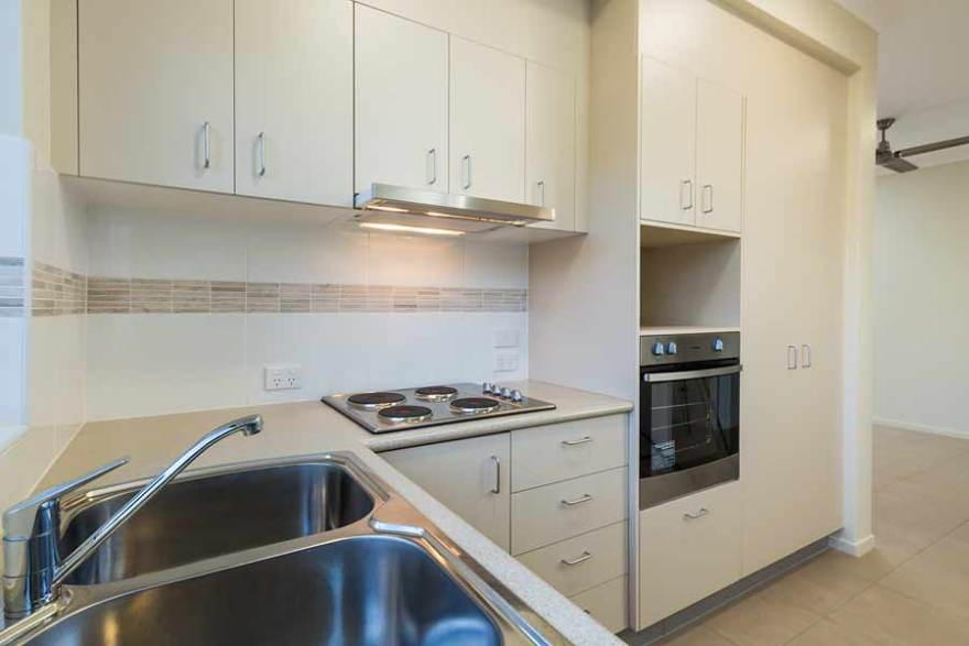 Image of the kitchen area in a unit housing development, Thursday Island