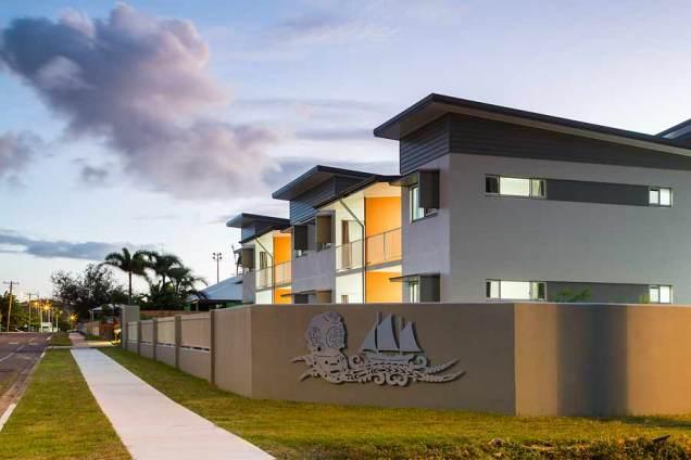 Twilight image of unit housing development, Thursday Island