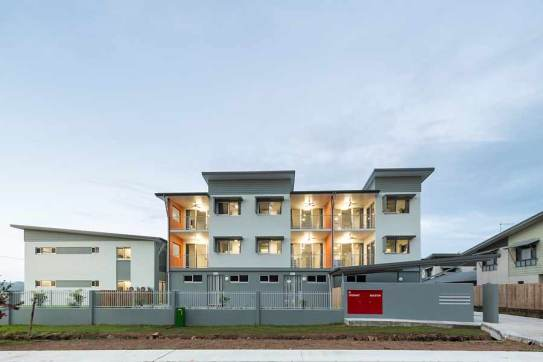 Twilight image of unit housing development, Thursday Island
