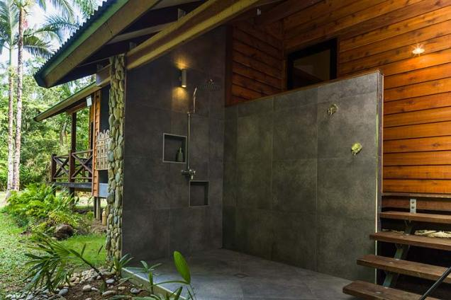 An outdoor shower at a holiday cottage in the Daintree region