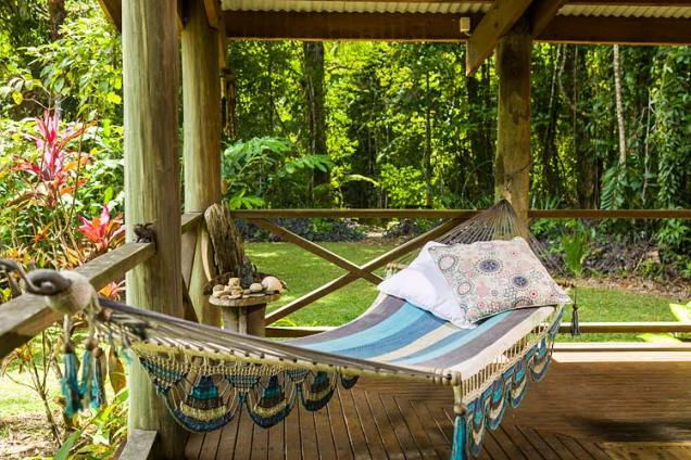 Hammock looking out on the rainforest surrounds at Daintree holiday cottage