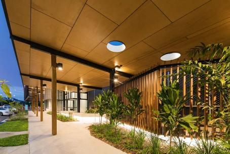 Exterior of Bulmba-ja Centre of Contemporary Arts in Cairns illuminated night