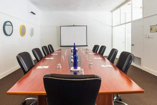 Board room setup for business meeting