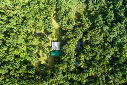 Aerial view of Daintree holiday home beside Cooper Creek and rainforest