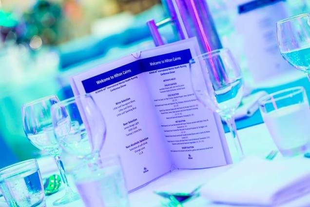 Menu on table for conference dinner