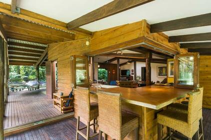 Outdoor dining benchtop and deck area of Daintree holiday cottage