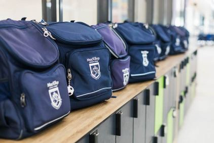 School bags lined up on top of school lockers