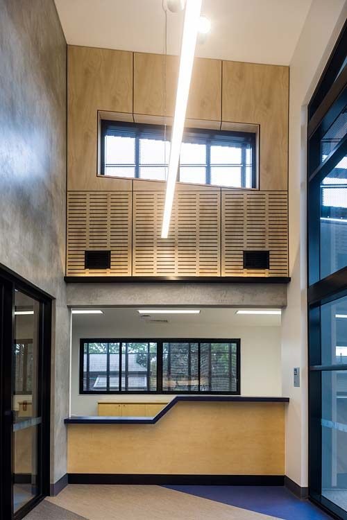 Interior of Atherton Disaster Centre showing high ceiling foyer and reception area