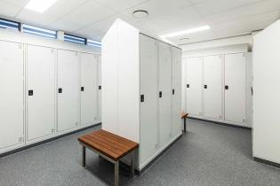 Interior of the Gordonvale Fire Station showing staff locker room