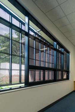 Interior of Atherton Disaster Centre showing protective window screening