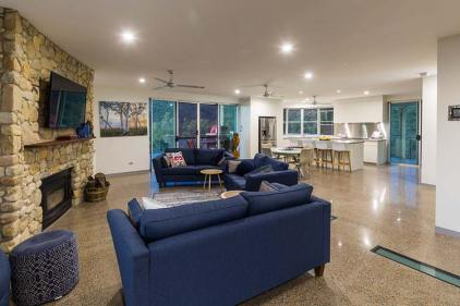 Interior of the Walsh River House showing open plan living, dining and kitchen areas