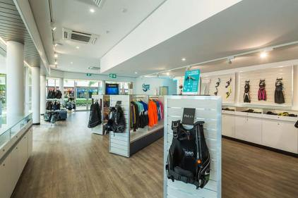 Interior of the Quicksilver Dive Centre showing retail fitout for dive eqipment