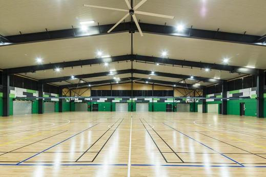 Interior of Trinity Bay High School multi purpose hall showing sports courts