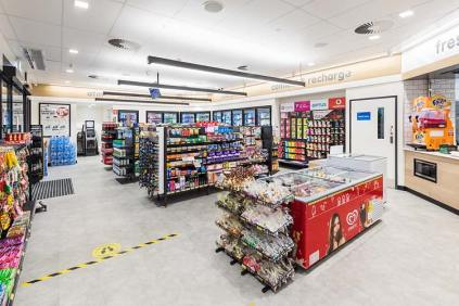 Interior of fuel service station showing convenience store fitout