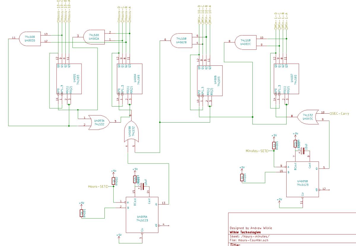 Discrete logic clock schematic from KiCAD