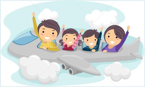 Картинка с родителями и детьми в самолёте