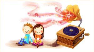 Дети слушают граммофон