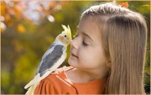 Девочка с любимым попугаем