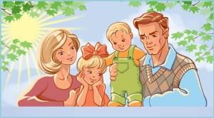 На картинке папа, мама и дети