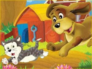 На прикольной картинке собака бежит за кошкой
