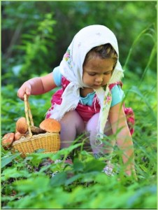 Девочка грибы собирает