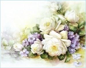 Белые цветы для декупажа