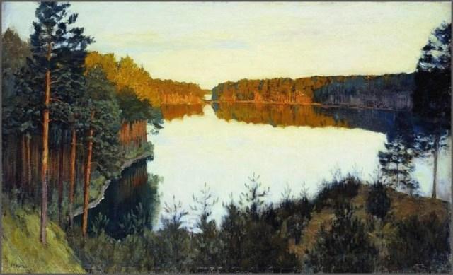 Лесное озеро картина