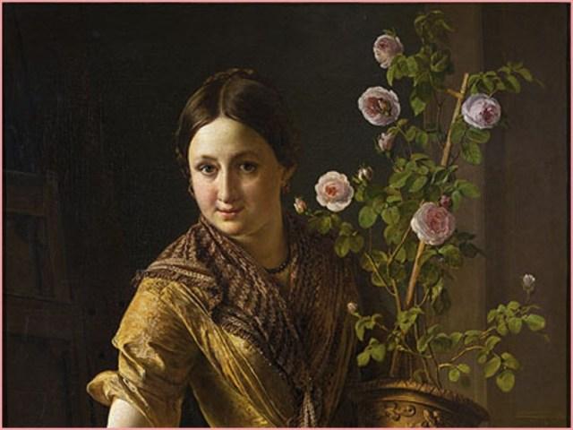 Девушка с горшком роз