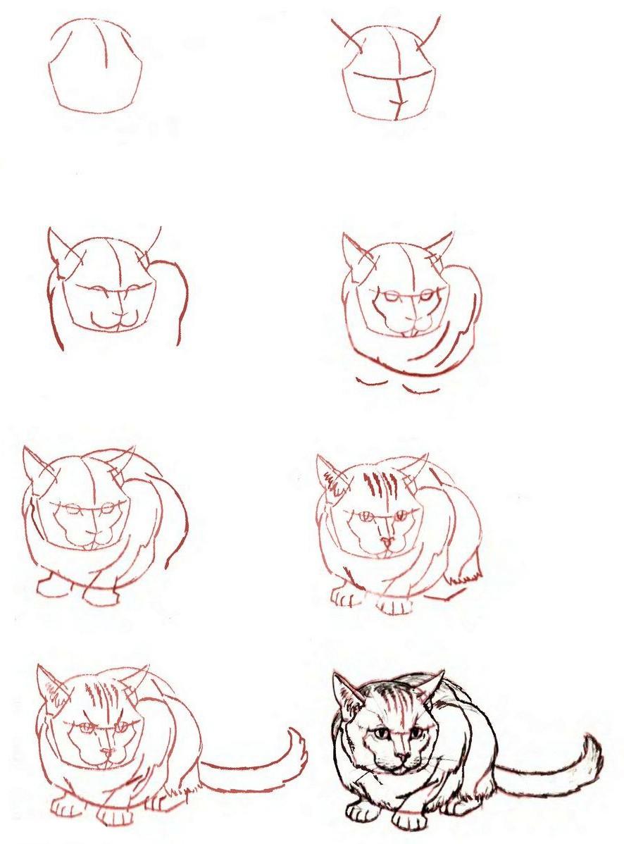Как нарисовать открытку котенок, днем