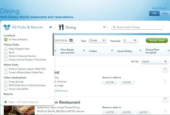 reservar restaurantes no site da Disney
