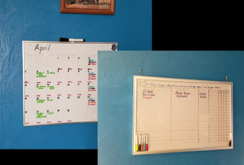 The two white boards I use for my writing life.