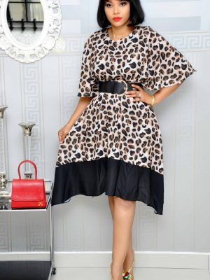 Animal Print Batwing Skater Dress