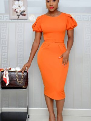 Orange Midi Dress with Puffy Sleeves
