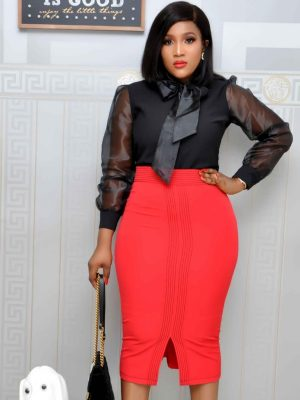 Red Pencil Skirts with Front Slit