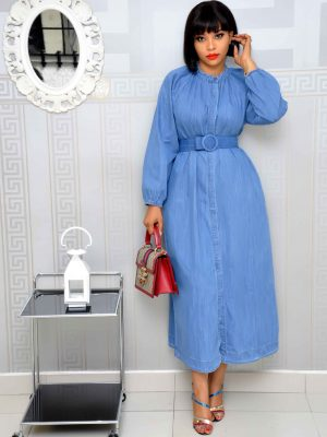 Belted Denim Dress with Turtle Neck