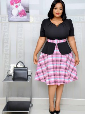 Black and Pink Check Peplum Dress