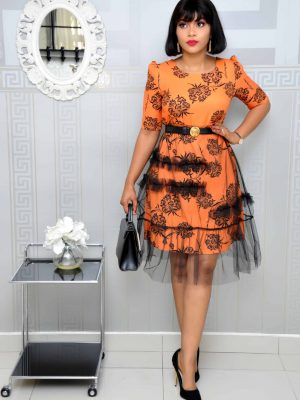 Orange and Black Skater Dress with Mesh